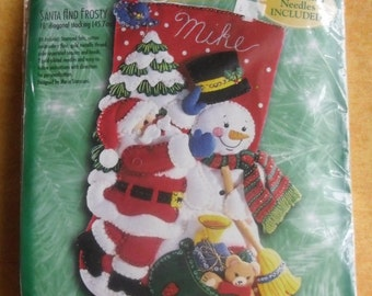Bucilla Christmas Stocking - 83974 Santa And Frosty, Felt Stocking Kit, 1999 Discontinued Complete Kit NIP