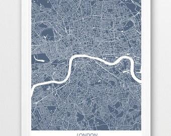 London Street Map Print, London City Poster Print, London United Kingdom Urban Street Print, Home Nursery Room Wall Office Printable Decor