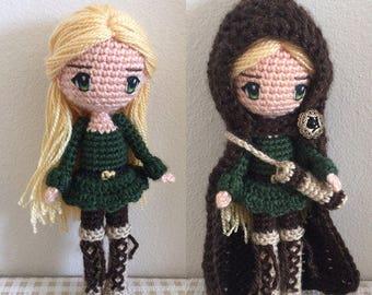 Amigurumi Doll Pattern Crochet Anime Female Girl Plush - Elvira the Woodland Elf Archer with Archery Quiver & Bow (+ hair and eye tutorial)