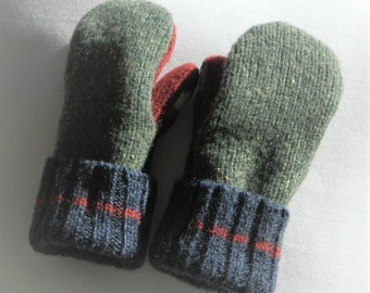 Felted Sweater Mittens - Green/Red/Navy Blue - Felted Wool Mittens - Wool Mittens - Kids - Small