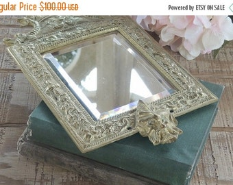 On Sale Antique Post Victorian Brass Wall Mirror Beveled Mirror
