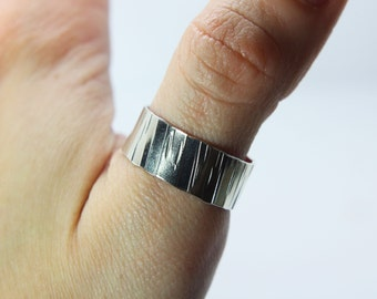 Wide silver band 'River' wedding band - hammered silver ring -chunky silver band - man's silver ring - man's ring - man's band - hand made