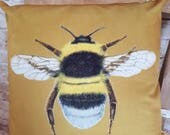 Handmade Square Gold Velvet Large Bee Cushion Pillow With Or Without Inner
