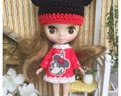 "Petite Blythe / Little Dal Outfit : ""Mickey Mouse Set"" (Dress and Crochet hat)"