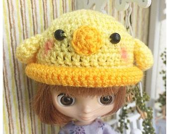 "Doll Hat for Lati White & Petite Blythe : ""Little Duck Hat"" (Crochet Hat)"