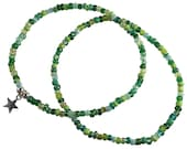 ANKLET SET 2x Anklets Plain and Star Charm Slim Glass Seed Beads on Elastic Multi-Colour Mixed Colours