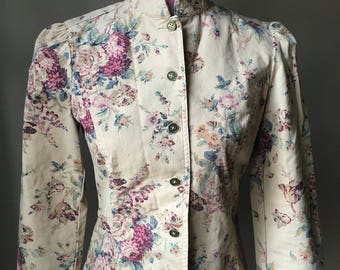 Floral Denim Jacket Blazer by Chaps
