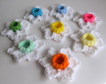 Crochet Flowers Set of 8 / Daffodil Narcissus Jonquil Flowers  / Multicolored Flower Appliques / Crochet Jonquils / Crochet Daffodils