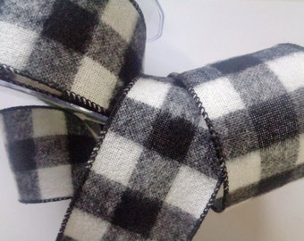 Gingham Fluff Wide Wired Ribbon, White / Black, 2 1/2 inch wide, 1 yard, For Adornments, Gift Packing, Wreaths, Center Pieces, Home Decor