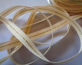 """Narrow Canvas With Metallic Center Line Ribbon, Natural / Gold, 3/8"""" inch wide, 1 yard, For Gift Wrapping, Scrapbook, Decor, Accessories"""