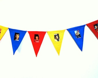 SALE Star Trek Trading Card Bunting Father's Day Spock Kirk Scotty Bones Uhura Chekov Red Blue Gold Banner Sci Fi Photo Frame no. 1