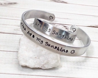 You Are My Sunshine Bracelets - Mother's Day Gift - Matching Mother Daughter - Hand Stamped Bracelets - Personalized Cuffs