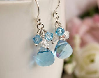 Blue Swarovski Crystal Cluster Earrings Wire Wrapped Aquamarine Crystal Heart Sterling Silver Bridal Wedding Graduation Jewelry Gift For Her