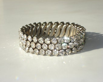 Vintage Rhinestone Stretch Bracelet - Wide Diamante Jewellery - Bridal Costume Jewelry 1960s
