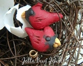 Thumbnail Cardinal bird pairs- polymer clay charm. red bird. tiny bird beads. rustic realistic woodland. folk bird bead. Jettabugjewelry