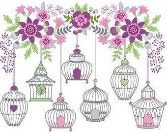 70% OFF SALE Bird Cage Clipart - Digital Vector Bird, Flowers, Summer, Branch, Bird Cages Clip Art