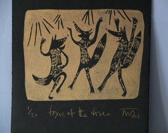 Foxes at the disco - copper linocut