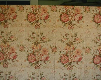 Vintage Custom Made Drapery Panels, Ralph Lauren Fabric, 85 1/2 x 85 1/2, Fully Lined, Pair of Drapes