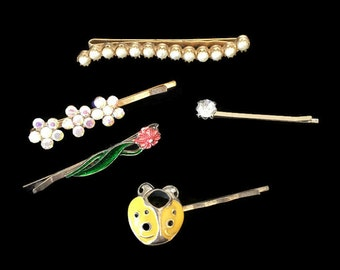 Vintage Hair Pins Bobby Pins Decorative Rhinestone Pearls Flower and Ladybug Collection