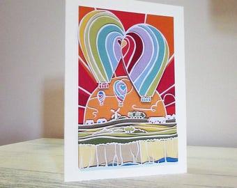 Hot Air Balloon greeting card decoupaged card