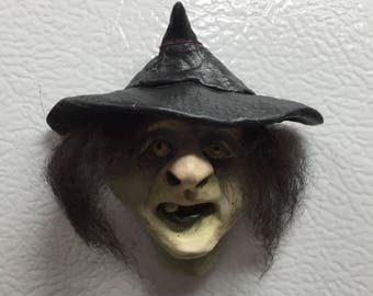 WITCH/GOBLIN MAGNETS - Hand sculpted magnets to hold important things on your refrigerator. MA2