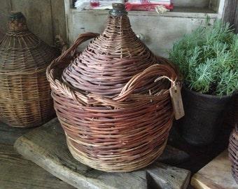 French Demijohn Wicker Wine Bottle Hand Wrapped 20 Litres Original Cork