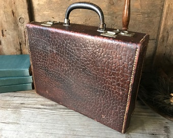 Antique Small Leather Suitcase, Briefcase, Attache, Brown Stamped Leather