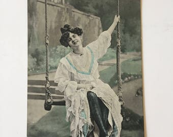Carte Postale Postcard / Vintage Postcard Woman on a Swing Black, White & Aqua Colored Unposted Great for Altered Art, Mixed Media, etc