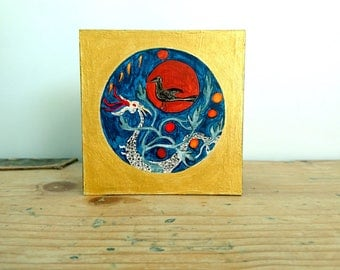 RESERVED FOR KAREN: Painted Wooden Box, Sun, Solar Crow, Dragon - Small Original Painting on Wood, Chinese Realm of the Immortals