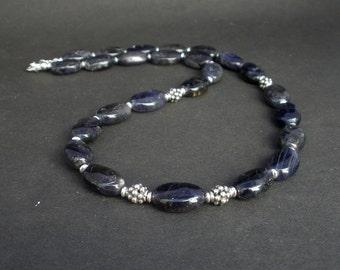 Natural Gemstone Iolite Necklace, 925 Bali Silver, Iolite Oval Necklace