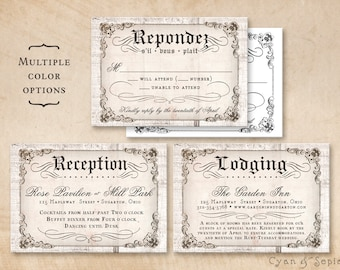 Printable Wedding Enclosure Cards - Antique Calligraphy on Wood - 3.5x5 - R.S.V.P. Response Reception Accommodations Lodging Other Cards