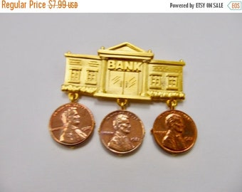 On Sale JJ Banking Pin with 3 Dangling Pennies Item K # 2162