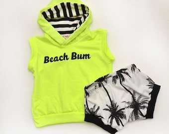 Neon Yellow Beach Bum Infant/Toddler Set