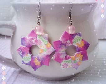 Origami Wreath Earrings - Paper Jewelry - Purple and pink paper Earrings - Origami Jewelry