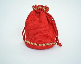 Vintage 1940s Drawstring Purse 40s Crochet Handbag Red and Gold