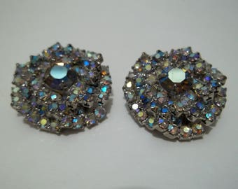 Vintage Signed 1950's Rhinesone Alice Caviness Clip On Earrings