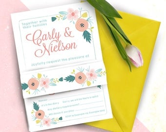 Summer Brights Floral Wedding Ceremony RSVP and Belly Band Invitation Set