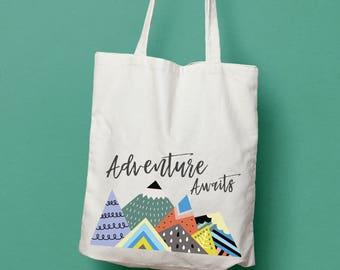 Adventure Awaits Mountain tote bag