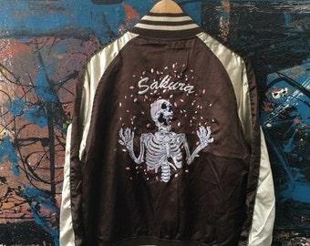 25% SALE 20 Rare Japan Cradle Skull Sakura Japan Skeleton Vintage Punk Rock Rockabilly BROWN Satin Puffy embroidery Sukajan Souvenir Bomber