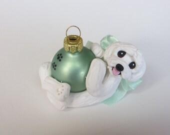Maltese Dog Christmas Ornament Polymer Clay