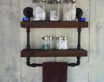 Reclaimed - Rustic - Industrial -Shelving With Towel Rail - Metal Pipe and Reclaimed Barnwood