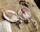 Earrings couple of American Indians-bohemian earrings-vintage earrings-earrings rustic-native american-handmade pendant-caramel-sepia-nougat