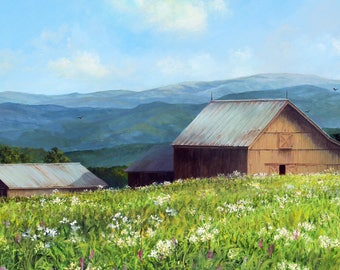 Summer Barns. Acrylic on Canvas, 48 x 24.