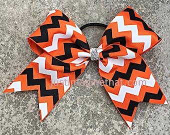 "2.25"" x 6"" x 6"" Cheer Bow Orange Black and White Chevron"