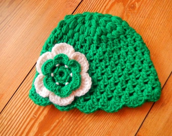 crocheted baby girl hat, crochet baby girl cap,  hand made green hat, cap with large flower 3-6 month