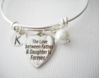The Love between Father & Daughter is Forever, Pearl- Initial Bangle/ Daughter Quote Jewelry, Young Girls Jewelry, bridesmaid