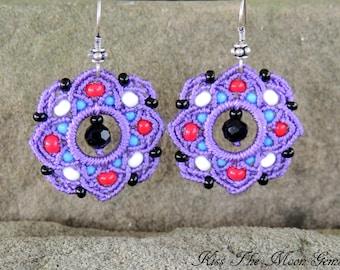 Boho Macrame Flower Earrings - Lavendar - Seed Beads