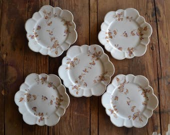 vintage leonard vienna austria china: set of five plates, floral with gold trim