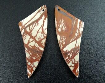Beautiful  cut and polished pair of  cherry creek  jasper ,  Drilled ,beads, Jewelry making supplies  B6477