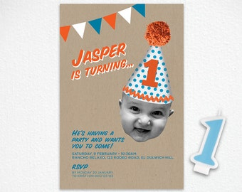 Printable 1st Birthday Invitation in Orange and Blue